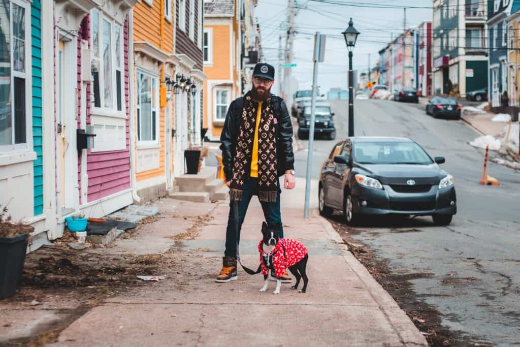 Man taking his dog for a walk