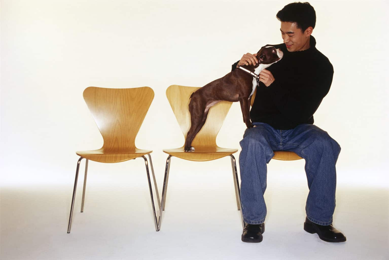 Man with Boston Terrier