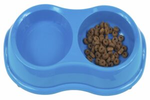 Dog food in a blue bowl